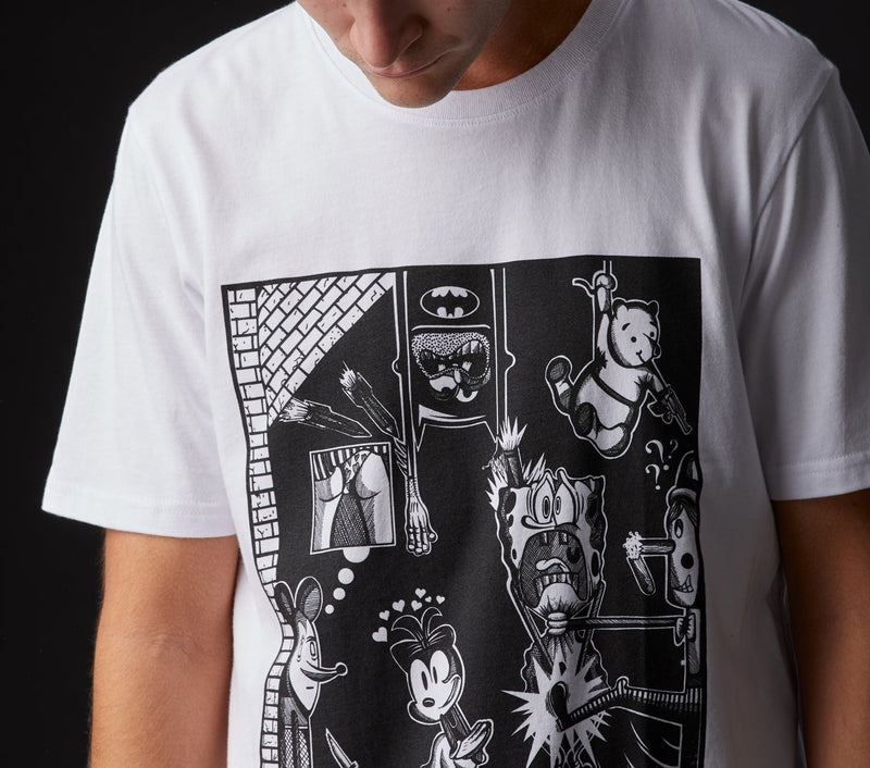Cartoon Battles Tee - White