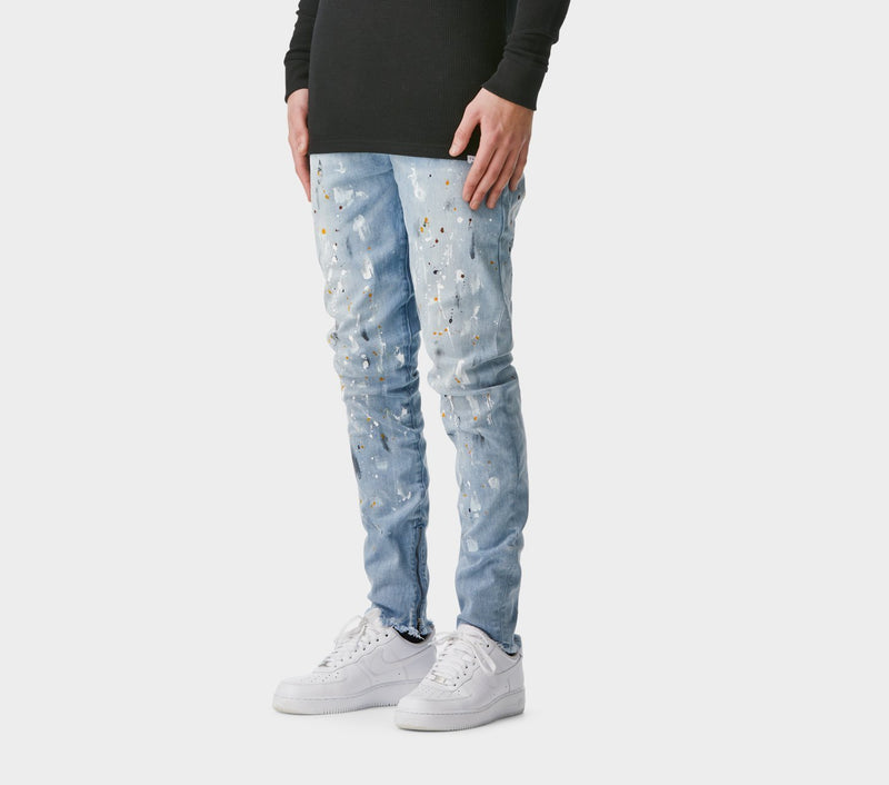 Denim Mid Rise Zespy Pant - Stained Blue