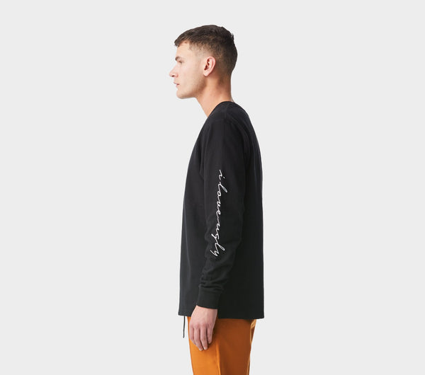 Script Sleeve Long Sleeve Tee - Black
