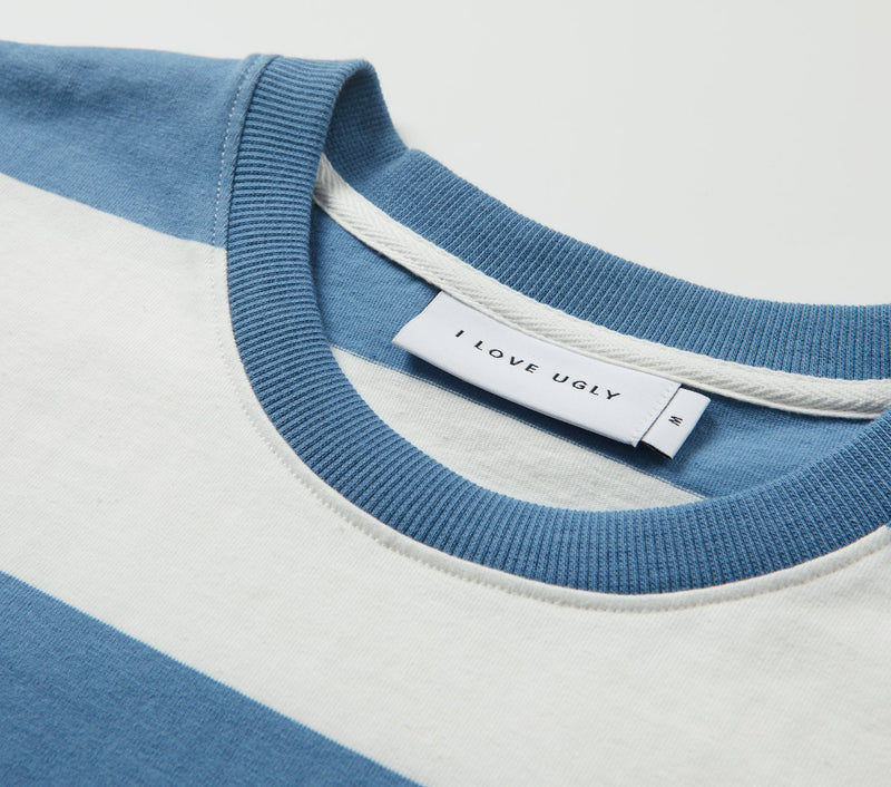Fat Stripe Tee - Smoky Blue/White