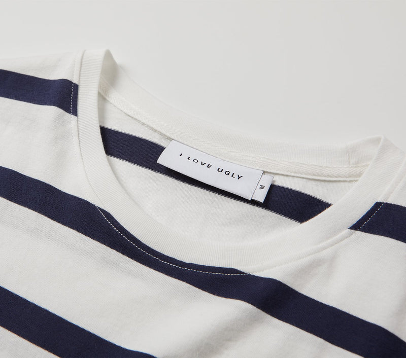 Striped Script Tee - White/Navy