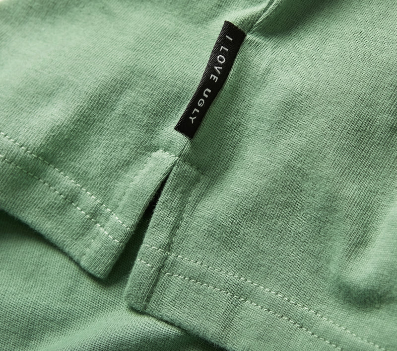 Ribbed Neck Logo Tee - Apple Green