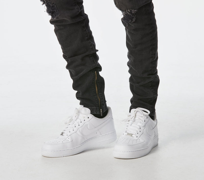 Denim Mid Rise Zespy Pant - Distressed Black