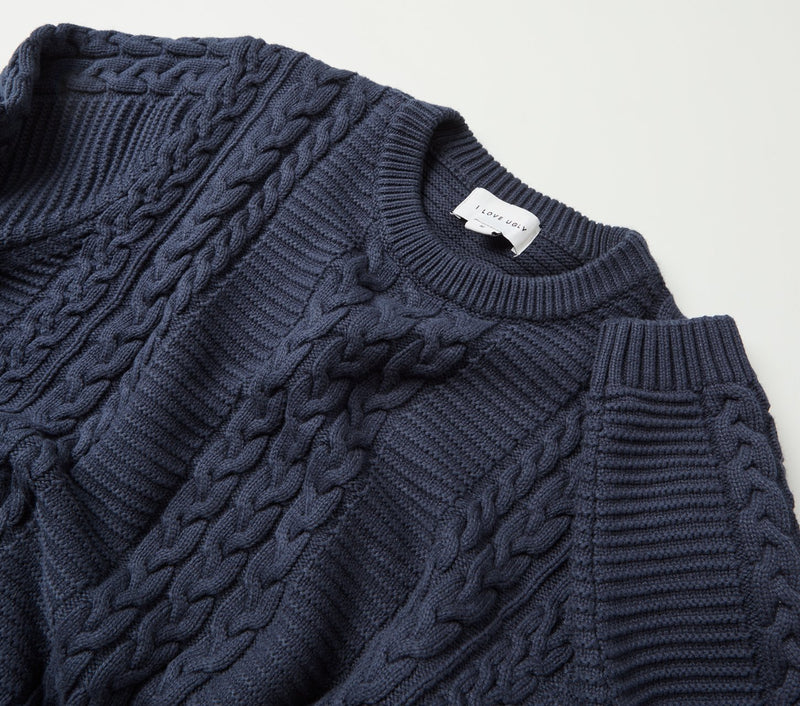 Alza Cable Sweater - French Navy