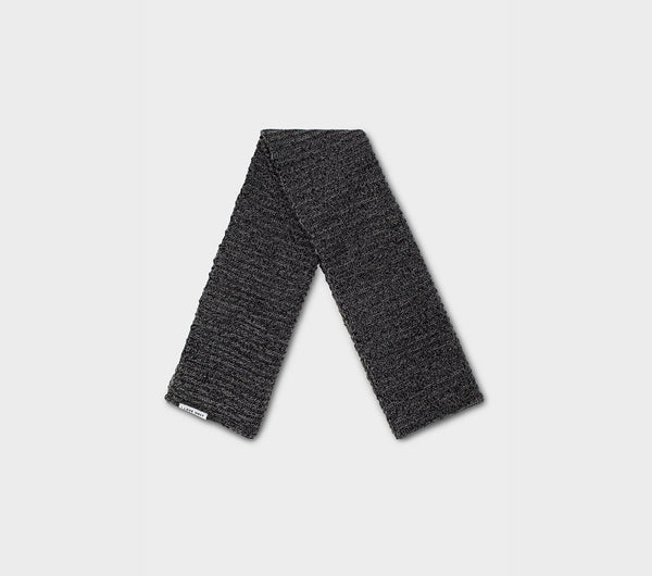 Cable Rib Knit Scarf - Charcoal Speckle
