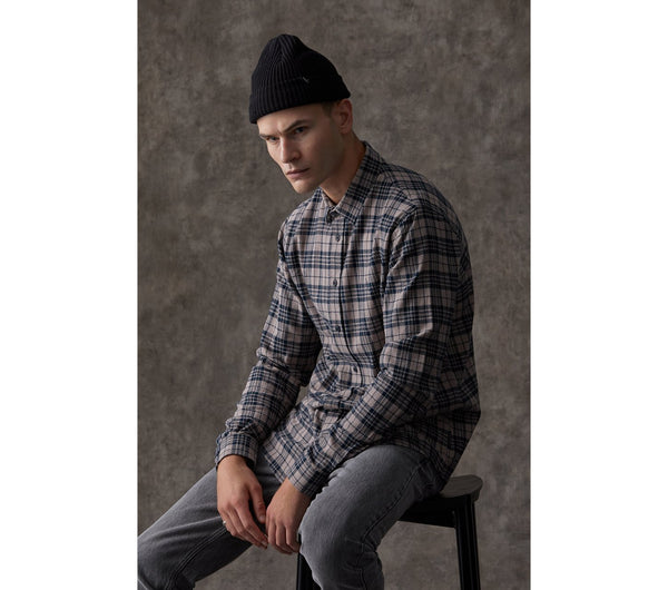 Miro Shirt - Navy-Brown Check