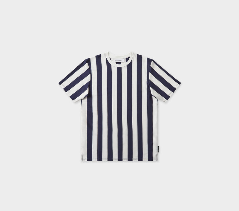 Vertical Stripe Tee - Navy/White