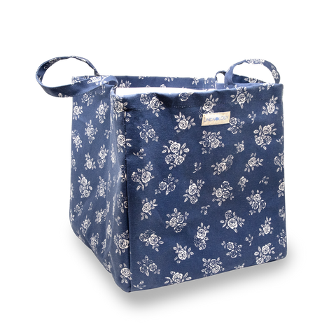 Acrylic Coated Laundry Bag - English Rose - Navy