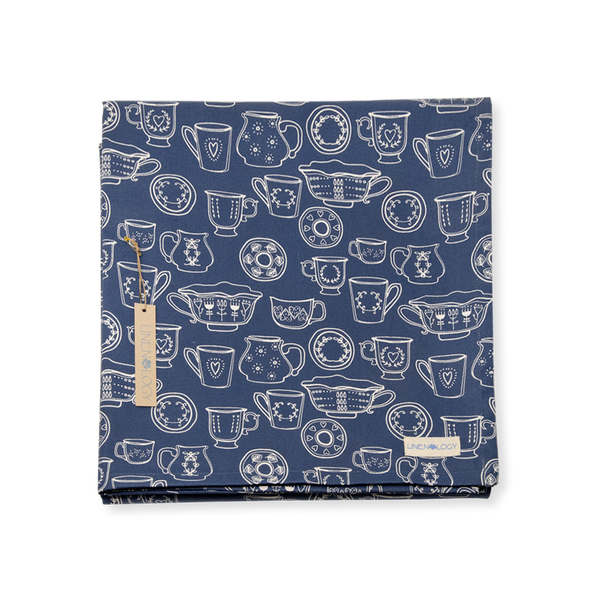 Table Cloth - Cup & Saucer - Navy