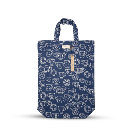 Shopping Bag - Cup & Saucer - Navy
