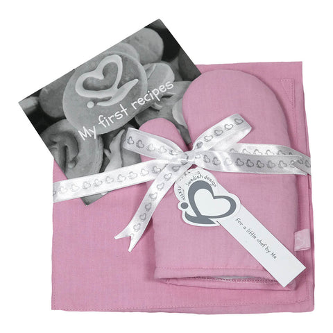 Little Chef Organic Kitchen Apron Set - Pink