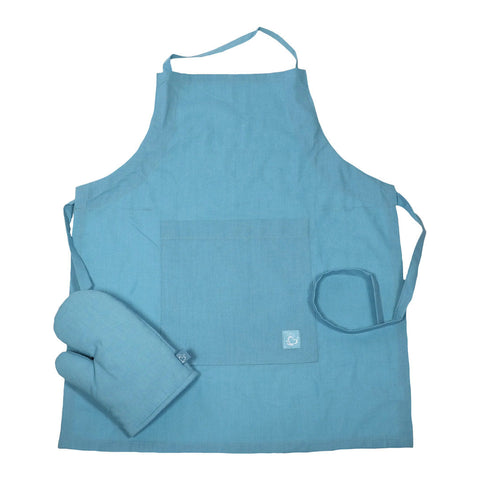 Little Chef Organic Kitchen Apron Set - Sky