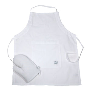Little Chef Organic Kitchen Apron Set - White