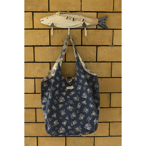 Beach Bag - English Rose - Navy