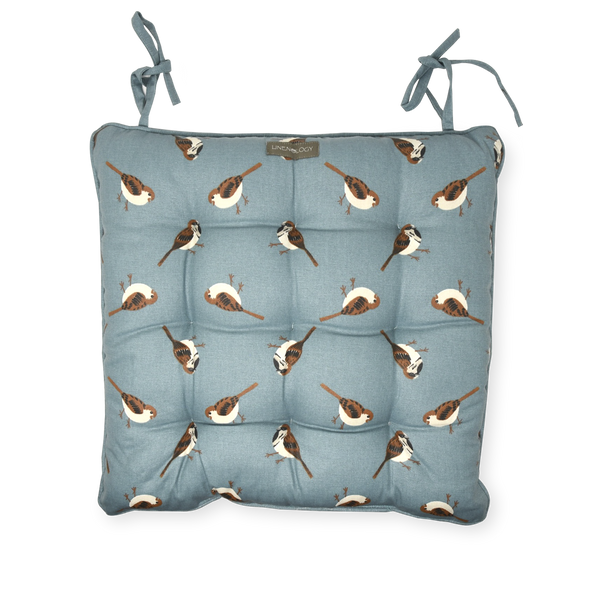 Chair Pad with Ties - Sparrows- Cameo Blue