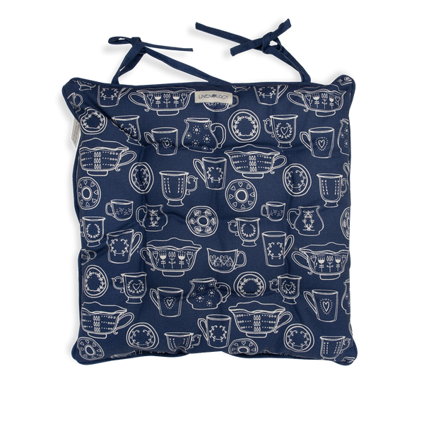 Chair Pad with Ties - Cup & Saucer - Navy