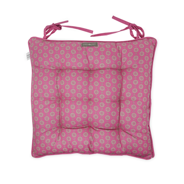 Chair Pad with Ties - Geo Pink Flambé