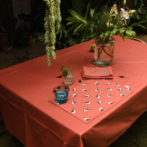 Acrylic Coated Table Cloth - Sparrows - Burnt Chilli - Solid