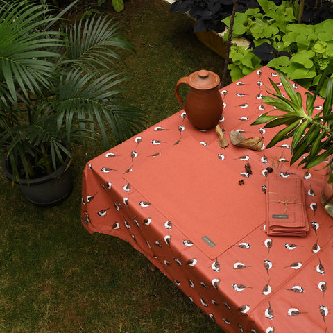 Dining Set - Sparrows - Burnt Chilli - Acrylic Coated Table Cloth, 6 Place mats (Solid), Napkins (Set of 6)