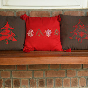Applique cushion cover - Green
