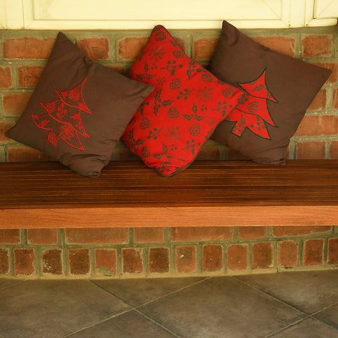 Applique cushion cover - Red