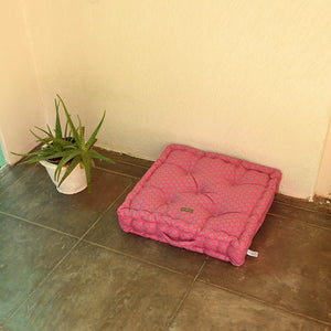 Acrylic Coated Floor Cushion - Geo Pink Flambé