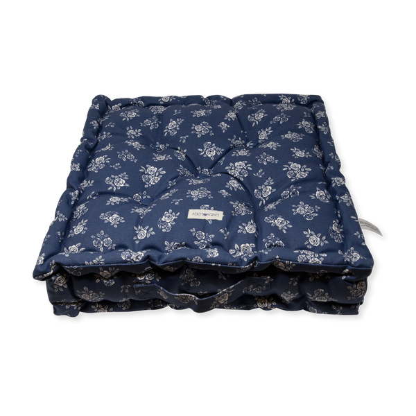 Acrylic Coated Floor Cushion - English Rose - Navy
