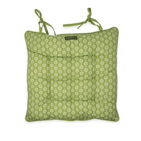 Chair Pad with Ties - Geo Lime
