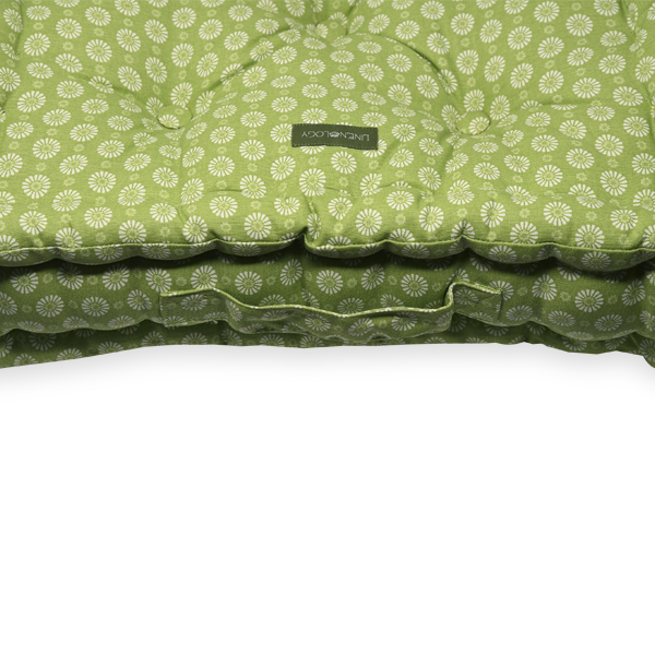 Acrylic Coated Floor Cushion - Geo Lime