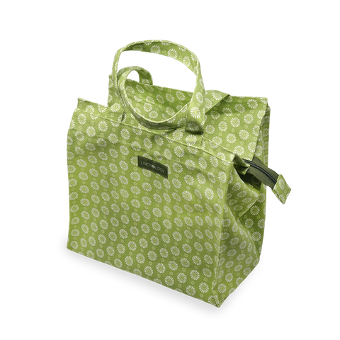 Tall Acrylic Coated Lunch Bag with Zip - Geo Lime