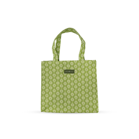Tall Acrylic Coated Lunch Bag - Geo Lime