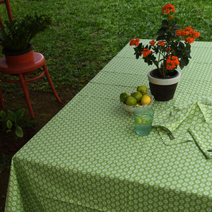 Acrylic Coated Table Cloth - Geo Lime