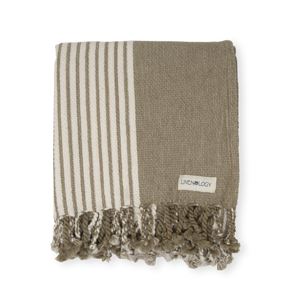 Hammam Towel - Stripes - Stone