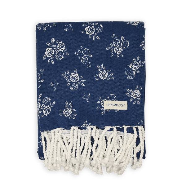 Hammam Towel - English Rose - Navy