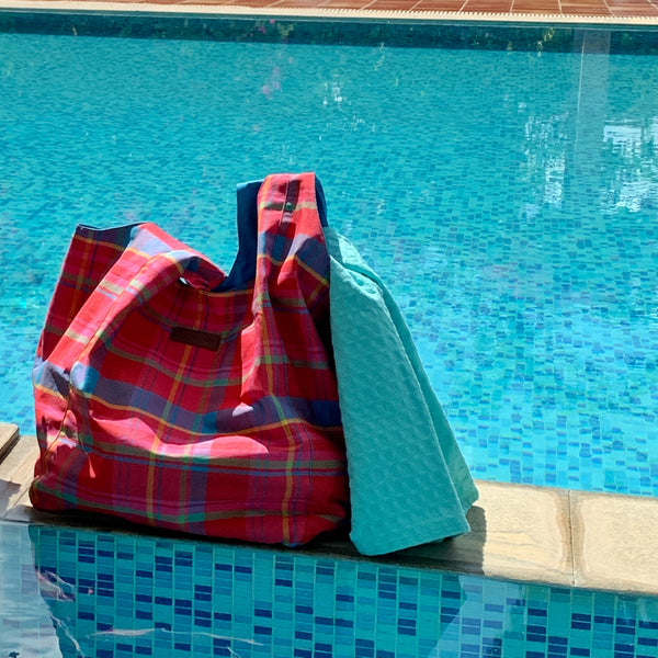 Beach Bag - Manic Madras - Red