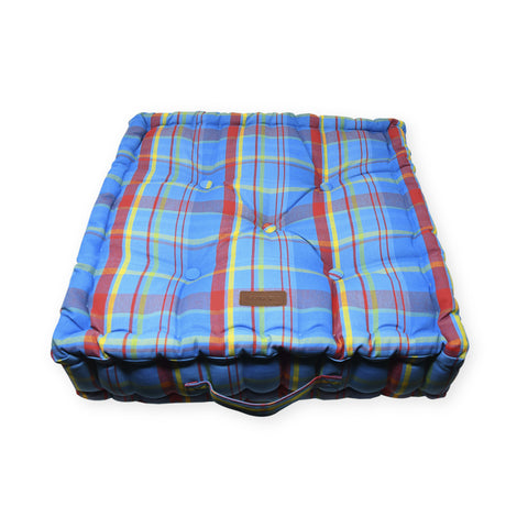 Acrylic Coated Floor Cushion - Manic Madras - Blue