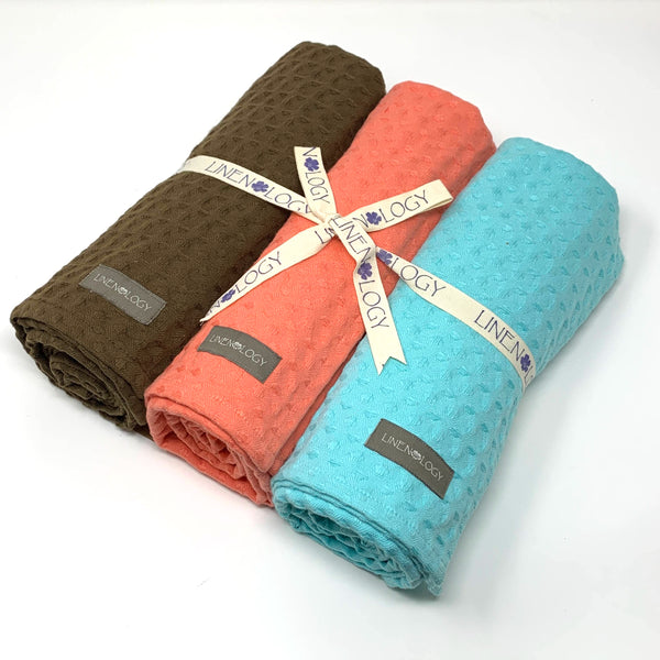 Set of 3 Chunky Waffle Towels - Aqua Sky, Dark Forest, Salmon Blush