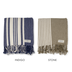 Set of 2 Hammam Towels - Stripes - Indigo, Stone