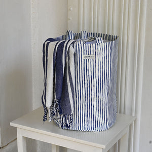 Acrylic Coated Cylindrical Laundry Bag - India Ink - Egg Shell