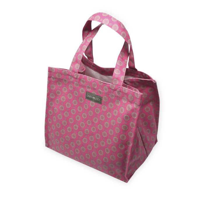 Tall Acrylic Coated Lunch Bag - Geo Pink Flambé