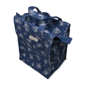 Tall Acrylic Coated Lunch Bag with Zip - English Rose - Navy