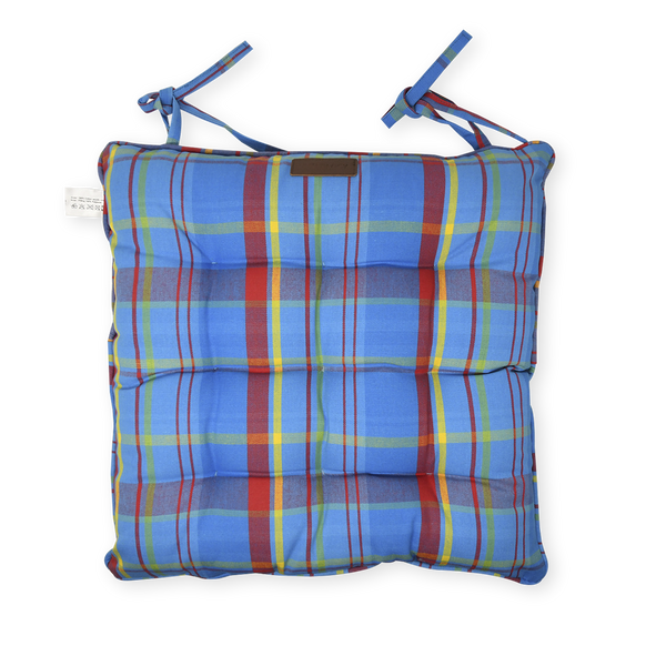 Chair Pad with Ties - Manic Madras - Blue