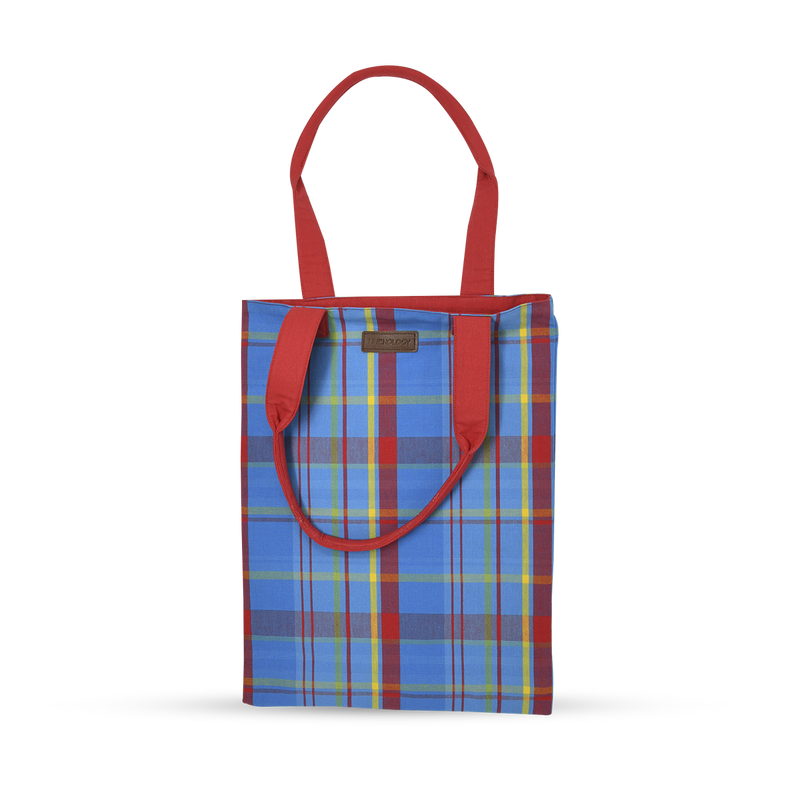 Book Bag - Manic Madras - Blue