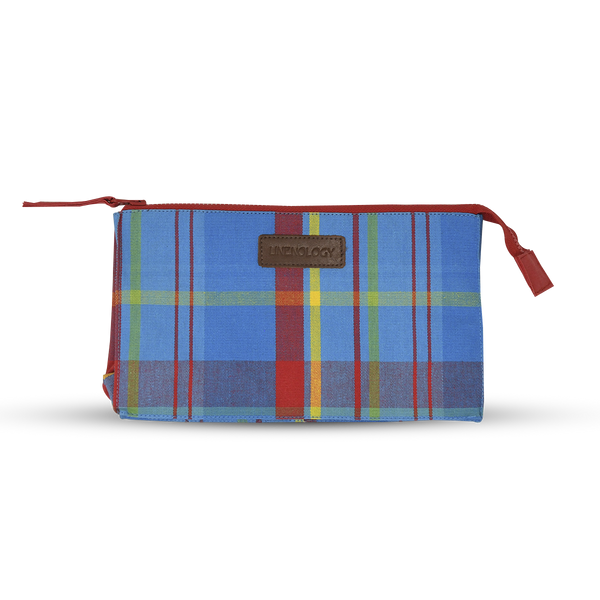 Makeup Bag Big - Manic Madras - Blue