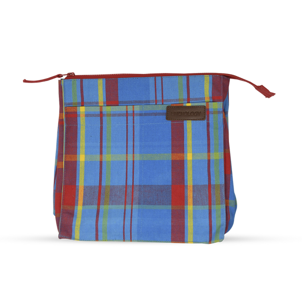 Wash Bag Tall - Manic Madras - Blue