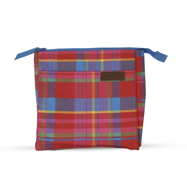 Wash Bag Tall - Manic Madras - Red