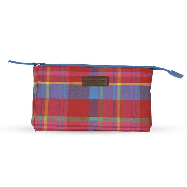 Makeup Bag Big - Manic Madras - Red