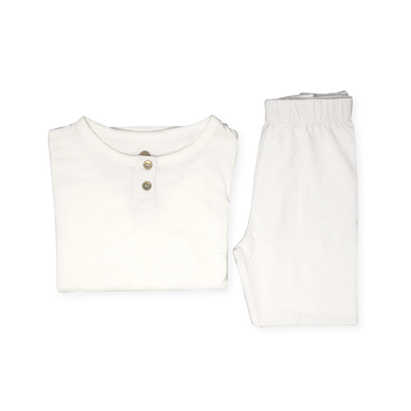 Organic Pyjamas Set - White - Gold Accents