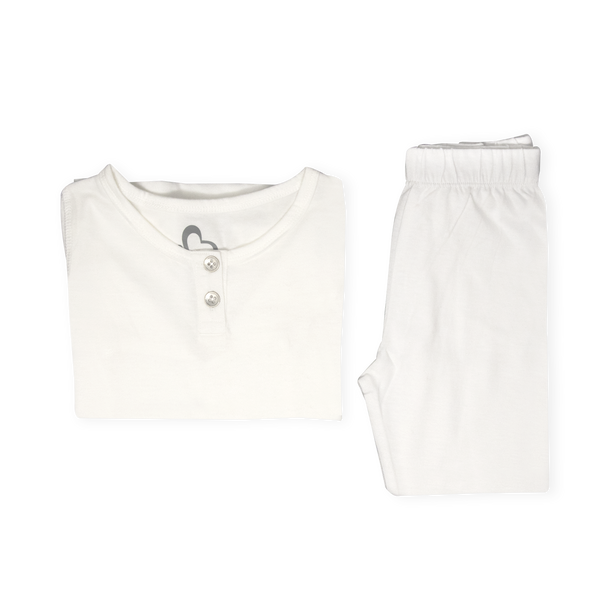 Organic Pyjamas Set - White - Grey Accents
