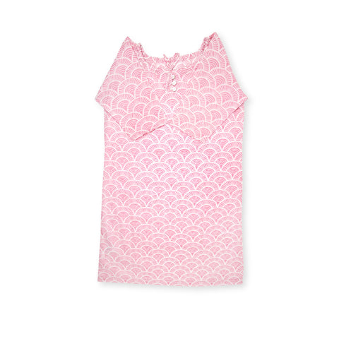 Handprinted Organic Nightgown - Art Deco - Pink